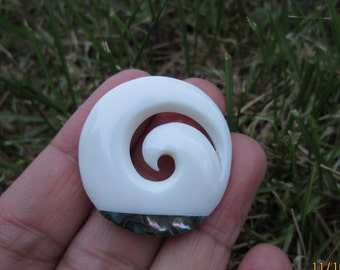 Excellent Hand Carved  Koru,  Carved Bone Cabochon, Bone component, Swirl Pendant, Jewelry making S4487