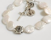 Rosary Bracelet - Confirmation - White Coin Fresh Water Pearl and Sterling Silver