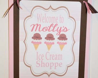 ICE CREAM SHOPPE Theme Happy Birthday or Baby Shower Door or Welcome Sign
