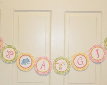 "GIRLY SAFARI Birthday or Baby Shower Banner ""It's a Girl"" Pink Yellow Green - Party Packs Available"