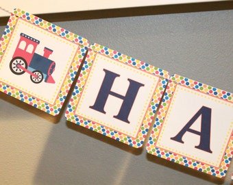 CHOO CHOO TRAIN Happy Birthday or Baby Shower Party Banner - Party Packs Available