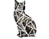Halloween sale! Half price! Geometric Cat Watercolor / Tribal Ink etsy shop #geometric #cat #etsy #blackcat #halloweendecor #halloween #sale