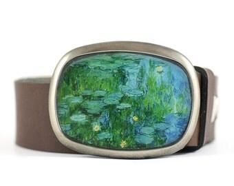 Monet Belt Buckle, Water lilies Belt Buckle, Wearable Art Belt Buckle