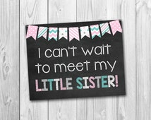 BOGO SALE, Pregnancy chalkboard sign, big sister sign, little sister, pregnancy announcement, photo prop