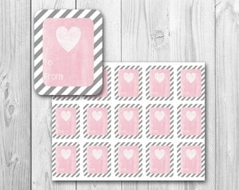 To and From gift tags, gray and white stripes, Valentine's Day gift tags, printable gift tags, instant download
