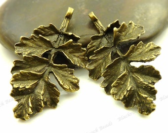 10 Leaf Pendants 31x18mm Antique Bronze Tone Metal - Focals, Necklace Charms, Findings, Jewelry Supply, Ornate, Very Detailed - BF17