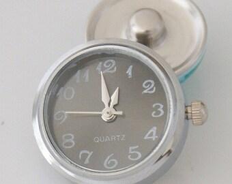 1 Gray Watch Clock - FITS 18MM Candy Snap Charm Jewelry Silver kb2012 CJ0524