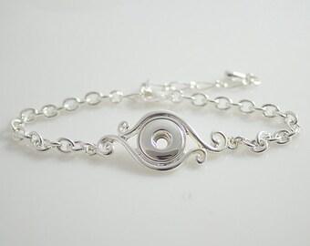 "1 Silver Chain Bracelet -7"" Fits 12MM Candy Snap Charm KB0422 CJ0092"