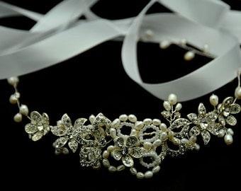 Bridal Hair Vine - Crystal and pearl hair vine, fresh water pearl halo
