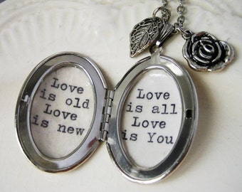Inspirational Locket necklace with beatles song love is all  love is you pendant necklace for women with beatles lyrics jewelry