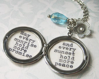 Locket inspirational quote necklace irish blessing  pendant inspiring  jewelry for women with inspiring message