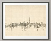 Washington DC Skyline, Sheet Music Cityscape Art Print (1398)