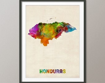 Honduras Watercolor Map, Art Print (1335)