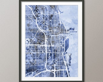 Chicago Illinois Street Map, Map of Chicago Art Print (1522)