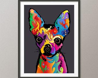 Chihuahua Dog, Pop Art Print (1744)