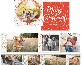 INSTANT DOWNLOAD - Christmas Accordion mini template 3x3  - E1158
