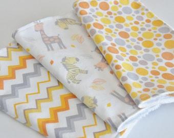 Baby Burp Cloths, set of 3, Zebras~Giraffes~Dots and Chevron