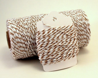 Brown Twine - Brown and White Baker's Twine - Light Brown Striped Twine - Striped Brown Sugar Divine Twine - Cotton String - Brown Gift Wrap