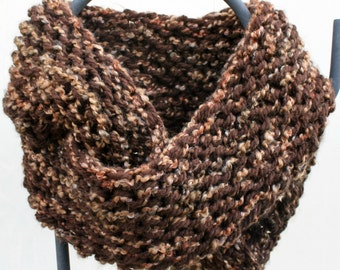 Outlander Inspired Chunky Hand Knit Infinity Scarf Gorgeous Espresso & Barley