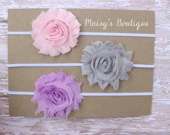Set of 3- Light Pink, Grey and Pink Lavender Shabby Flower Headband Set/ Headband/ Newborn Headband/ Baby Headband/ Wedding/ Photo Prop