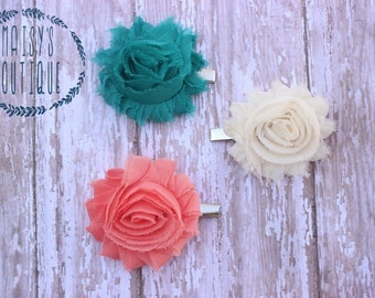75% Off Hair Clip Set of 3- Teal, Ivory, Coral Flower Clips/ Hair Clips/ Baby Hair/ Wedding/ Photo Prop