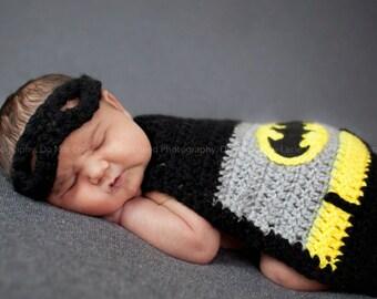 Newborn Batman cape and mask