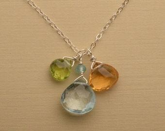 Gemstone Necklace, Blue Topaz Necklace, Healing Gemstone Jewelry, Blue Topaz Citrine Peridot Necklace, Gemstone Sterling Silver