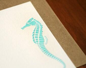 Seahorse Letterpress Notecard Set