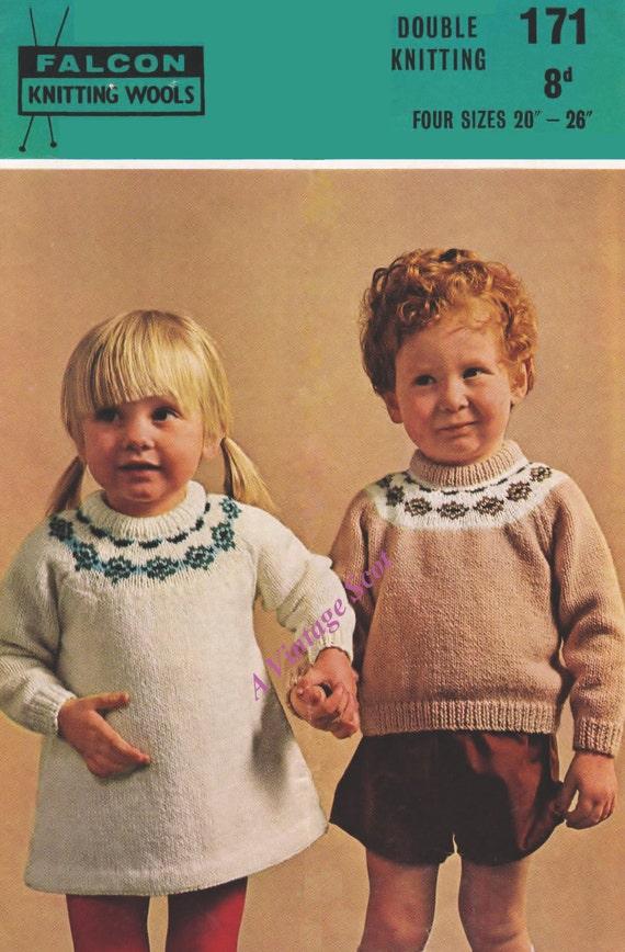 Baby/ Toddler / Childs Fair-isle Dress & Jumper in DK Light ...