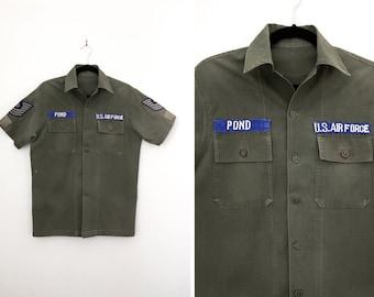 Vintage '70s U.S. Air Force Short Sleeve Shirt - Military Army Shirt - Size Medium