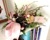 Dried Floral Arrangement Table Top Shelf Mini Centerpiece Spring Shabby Cottage Pink Flower Mushroom Design