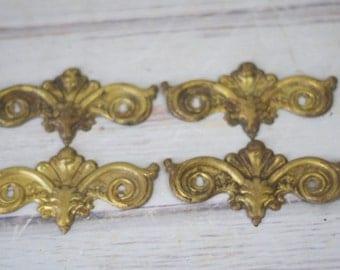 Antique Lot 4 Brass Back Plates Gold Metal Brass Dresser Drawer Hardware Parts