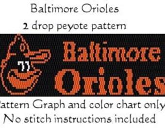 Baltimore Orioles 2 drop Peyote Pattern - Instant Download