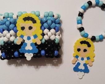 Alice In Wonderland Kandi Cuff - Rave - Festival - Beyond Wonderland - FREE perler bracelet - Ready to ship