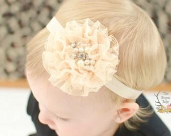 Cream Lace Headband -  Pearl Rhinestone Center - Newborn Infant Baby Toddler Girls Adult Wedding