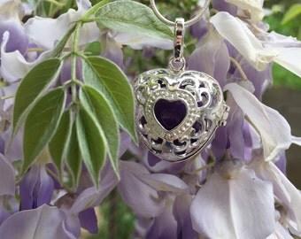 Harmony Ball Locket,Silver Heart Locket Necklace,Sentimental Gift,Wedding,Bridesmaids,Flower Girl,SHIPS from California,FREE Gift Wrap