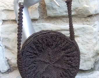 1950s Brown Knit Round Lucite Handle Handbag