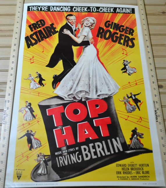 vintage top hat movie poster fred astaire by