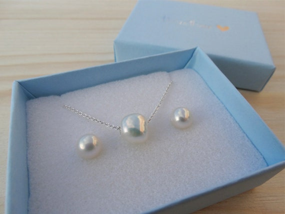 Pearl Necklace & Earrings Set - Sterling Silver