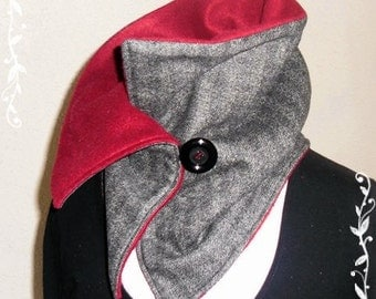 Shawl collar - Wool fabric anthracite-bordeaux