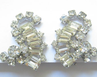 """CLEARANCE KRAMER Signed Vintage Rhinestone Earrings in Beautiful Condition with Baguettes & Rounds.  1-1/4""""H x 1-1/16"""" W."""