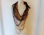Crochet Leather & Silk Fiber / Thread Chain Necklace (Copper/Caramel)