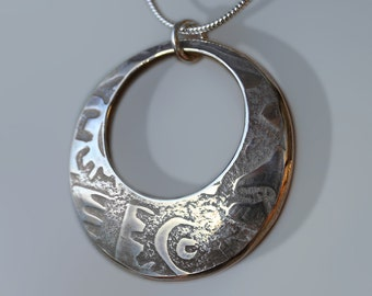 Abstract Silver Pendant, silver jewellery, Sterling silver pendant.