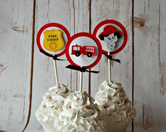 Firetruck Cupcake Toppers, Firefighter Party Decorations, Fire Chief Baby Shower