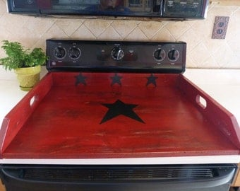 Primitive Kitchen, Noodle Board, Dough Board, Country Kitchen Board, Wooden Tray, Stove Top Cover, Laundry Room, Black Burgundy Red Board