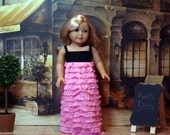 "American Girl 18"" Doll Clothes - Pink and Black ruffle dress. Cute and fun for your doll!"