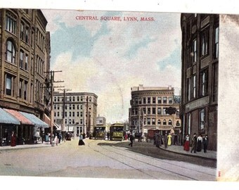 Central Square Lynn Massachusetts Chrome Chromes Main Street Postcard Litho