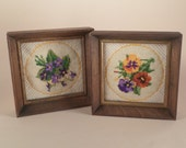 Vintage Pansy and Violet Needlepoint Finished Framed Pictures, Jiffy Stitchery by Sunset Designs