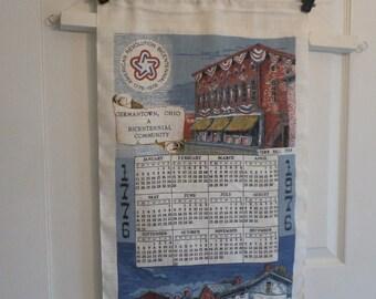 Linen Kitchen Towel Calendar, 1976, Germantown Ohio, Bicentennial, Historical Souvenir