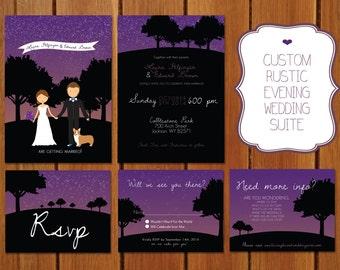 Custom Illustrated Evening Wedding Invitation
